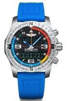 Мужские спортивные часы Breitling Professional-EB5512221B1S1для яхтсменов в корпусе из титана и карбона, с возможностью подключения к смартфону, с мировым временем, будильником и хронографом, с черным циферблатом и голубым каучуком.