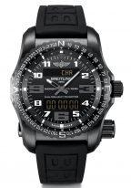 Мужские спортивные часы Breitling Professional-V7632522_BC46_156S кварцевые с радиочастотным маяком, вечным календарем, хронографом, мировым временем в титановом корпусе, циферблат черный, черный каучук