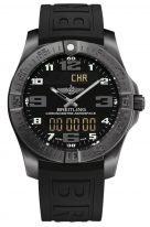 Мужские спортивные часы Breitling Professional V79363101B1S1 в черненном титановом корпусе, с функцией будильника, хронографа с черным циферблатом, черный каучук.