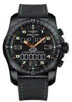 Мужские спортивные часы Breitling Professional-VB5010A5_BD41_100W в корпусе из черненного титана с функцией мирового времени, хронографа, будильника, с черным циферблатом и титановым браслетом.