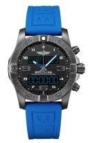 Мужские спортивные часы Breitling Professional VB5510H21B1S1 с аналоговым и электронным временем, вечный календарь, хронограф, мировое время в черненном титане, черный циферблат, голубой каучук