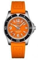 Женские спортивные часы Breitling Superocean A17316D71O1S1 в стальном корпусе, оранжевый циферблат, оранжевый каучук