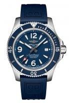 Мужские спортивные часы Breitling Superocean A17367D81C1S1 с датой в стальном корпусе, синий циферблат, синий каучук.