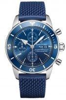 Мужские спортивные часы Breitling Superocean Heritage A13313161C1S1 хронограф с датой и днем недели в стальном корпусе, с синим циферблатом, синим каучуком