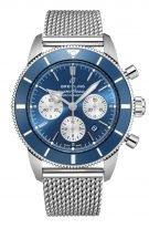 Мужские спортивные часы Breitling Superocean Heritage AB0162161C1A1 хронограф в сальном корпусе, синий циферблат, стальной миланский браслет.