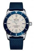 Мужские спортивные часы Breitling Superocean Heritage-AB201016_G827_280S в стальном корпусе, светлый циферблат, синий каучуковый ремешок.