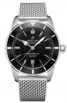 """Мужские спортивные часы Breitling Superocean Heritage AB2020121B1A1 в стальном корпусе, черный циферблат, стальной """"миланский"""" браслет."""