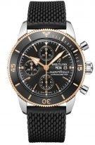 Мужские спортивные часы Breitling Superocean Heritage U13313121B1S1 хронограф с днем недели в биколорном корпусе, черный циферблат, черный каучуковый браслет