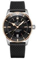 Мужские спортивные часы Breitling Superocean Heritage UB2010121B1S1 с датой в биколорном корпусе, черный циферблат, черный каучук