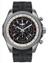 Мужские спортивные часы Breitling Bentley-AB061112_BD80_244S хронограф в стальном корпусе,с зубчатым рантом, черный решетчатый циферблат, черный каучук.