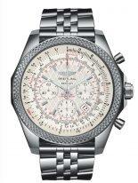 Мужские спортивные часы Breitling Bentley-AB061112_G802_990A хронограф в стальном корпусе, зубчатый рант с тахиметрической шкалой, циферблат серебристый и решетчатый, браслет стальной.