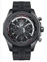 Мужские спортивные часы Breitling Bentley-MB0521V4_BE46_244S мировое время и хронограф в карбоновом корпусе, черный циферблат с мировой разметкой, черный каучук.
