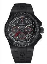 Мужские спортивные лимитированные часы Breitling Bentley-NB0434E5_BE94_232S хронограф и время второго часового пояса в карбоновом корпусе, черный циферблат, черный каучук.