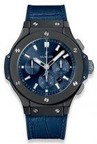Мужские наручные часы Hublot Big Bang-301.CI.7170.LR с хронографом с датой, на синем сатинированном циферблате накладные часовые метки и широкие стрелки с золотым покрытием и люминесцентным составом, синяя кожа кроко.