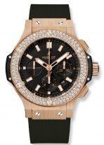 Мужские/женские наручные часы Hublot Big Bang-301.PX.1180.RX.1104 хронограф в розовом золоте с бриллиантовым рантом, на черном матовом циферблате накладные часовые метки и широкие стрелки с родиевым покрытием и люминесцентным составом, черный каучук