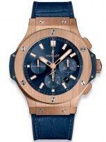 Мужские наручные часы Hublot Big Bang-301.PX.7180.LR с хронографом в розовом золоте, на синем сатинированном циферблате накладные часовые метки и широкие стрелки с золотым покрытием и люминесцентным составом, синяя кроко кожа.