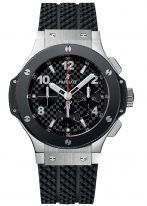 Мужские наручные часы Hublot Big Bang-301.SB.131.RX с хронографом и датой в стальном корпусе с керамическим рантом, на черном матовом циферблате накладные часовые метки и широкие стрелки с родиевым покрытием и люминесцентным составом, каучук