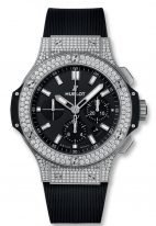 Мужские/женские наручные часы Hublot Big Bang-301.SX.1170.RX.1704 хронограф с датой в стальном корпусе с бриллиантовым рантом, на черном матовом циферблате накладные часовые метки и широкие стрелки с родиевым покрытием и люминесцентом, каучук.