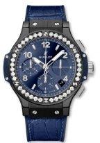 Женские наручные часы Hublot Big Bang-341.CM.7170.LR.1204 с хронографом и датой в керамическом корпусе, на синем сатинированном циферблате счетчики хронографа, накладные часовые метки и широкие стрелки с люминесцентом, ремешок кроко.