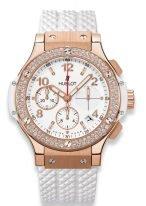 Женские наручные часы Hublot Big Bang-341.PE.230.RW.114 с хронографом и датой в розовом золоте с бриллиантовым рантом, на белом циферблатенакладные часовые метки и широкие стрелки с золотым покрытием и люминесцентным составом, белый каучук.