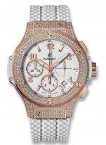 Женские наручные часы Hublot Big Bang-341.PE.230.RW.174 с хронографом и датой в розовом золоте с бриллиантовым рантом, на белом циферблате накладные часовые метки и широкие стрелки с золотым покрытием и люминесцентным составом, белый каучук