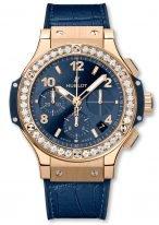Женские наручные часы Hublot Big Bang-341_PX_7180_LR_1204 хронограф с датой в розовом золоте с бриллиантовым рантом, на синем сатинированном циферблате счетчики хронографа, часовые метки и широкие стрелки с люминесцентом , синяя кожа