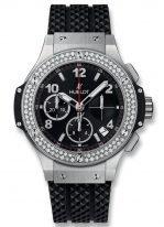 Женские наручные часы Hublot Big Bang-341.SX.130.RX.114 хронограф с датой в стальном корпусе с бриллиантовым рантом, на черном циферблате накладные часовые метки и широкие стрелки с родиевым покрытием и люминесцентным составом, каучук.