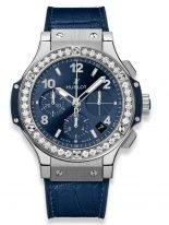 Женские наручные часы Hublot Big Bang-341.SX.7170.LR.1204 хронограф с датой в стальном корпусе с бриллиантовым рантом, на синем циферблате счетчики хронографа, накладные часовые метки и широкие стрелки с люминесцентом, ремешок кроко.
