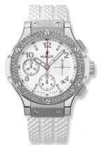 Женские спортивные часы Hublot Big Bang 342_SE_230_RW_114 хронограф с датой в стальном корпусе с бриллиантовым рантом, на белом циферблатенакладные часовые метки с люминесцентным составом, белый каучук.