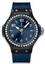 Женские наручные часы Hublot Big Bang-361.CM.7170.LR.1204 в корпусе из черной керамики с бриллиантовым рантом, на синем сатинированном циферблате накладные часовые метки и широкие стрелки с люминесцентным составом, синяя кожа кроко.