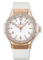 Женские наручные часы Hublot Big Bang 361_PE_2010_RW_1104 в розовом золоте с бриллиантовым рантом, на белом матовом циферблате с сатинированными накладными часовыми метками с люминесцентным составом, белый каучук.