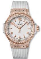 Женские часы Hublot Big Bang 361_PE_2010_RW_1704 в розовом золоте с бриллиантовым рантом, на белом матовом циферблате с сатинированными накладными часовыми метками с люминесцентным составом, белый каучук.