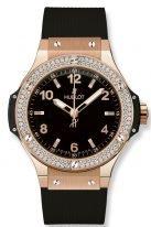 Женские наручные часы Hublot Big Bang 361_PX_1280_RX_1104 в розовом золоте с бриллиантовым рантом, на черном матовом циферблате с сатинированными накладными часовыми метками с люминесцентным составом, черный каучук.