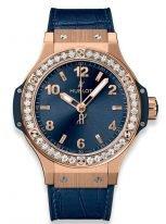 """Женские наручные часы Hublot Big Bang-361.PX.7180.LR.1204 в розовом золоте с бриллиантовым рантом, на синем сатинированном циферблате с узором """"солнечные лучи"""" накладные часовые метки и широкие стрелки с люминесцентным составом, синяя кроко."""