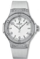 Женские наручные часы Hublot Big Bang-361.SE.2010.RW.1704 в стальном корпусе с бриллиантовым рантом, на белом матовом циферблате накладные часовые метки и широкие стрелки с люминесцентным покрытием, белый каучук.