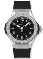 Женские наручные часы Hublot Big Bang-361.SX.1270.RX.1104 в стальном корпусе с бриллиантовым рантом, на черном матовом циферблате накладные часовые метки и широкие стрелки с люминесцентным покрытием, черный каучуковый ремешок.