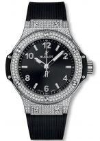 Женские наручные часы Hublot Big Bang-361.SX.1270.RX.1704 в стальном корпусе с бриллиантовым рантом, на черном матовом циферблате накладные часовые метки и широкие стрелки с люминесцентным покрытием, каучуковый ремешок.