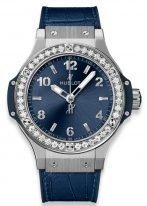 """Женские наручные часы Hublot Big Bang-361.SX.7170.LR.1204 в стальном корпусе с бриллиантовым рантом, на синем сатинированном циферблате с """"солнечными лучами"""" арабские цифры и широкие стрелки, синяя кожа кроко."""