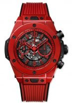 Мужские наручные часы Hublot Big Bang-411.CF.8513.RX хронограф с датой в красном керамическом корпусе, на скелетированном матовом сером циферблате арабские красные цифры и стрелки покрытые люминесцентом, красный каучук.