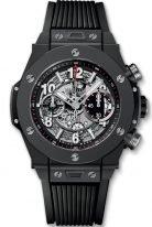 Мужские наручные часы Hublot Big Bang-411.CI.1170.RX хронограф с датой в керамическом корпусе, на скелетированном матовом черном циферблате родиевые часовые метки и стрелки покрытые люминесцентом, черный каучук.