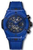 Мужские/женские часы Hublot Big Bang 411_ES_5119_RX хронограф с датой в синей керамике, на скелетированном матовом голубом циферблате арабские цифры и стрелки покрытые люминесцентом, синий каучук.