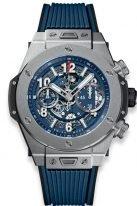 Мужские наручные часы Hublot Big Bang-411.NX.5179.RX хронограф с датой в титановом корпусе, на скелетированном матовом синем циферблате часовые метки и стрелки покрытые люминесцентом, синий каучук.