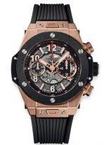 Мужские наручные часы Hublot Big Bang-411.OM.1180.RX хронограф с датой в розовом золоте, на скелетированном матовом черном циферблате золотые часовые метки и стрелки покрытые люминесцентом, черный каучук.