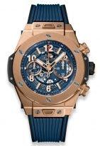 Мужские наручные часы Hublot Big Bang-411.OX.5189.RX хронограф с датой в розовом золоте, на скелетированном матовом синем циферблате золотые часовые метки и стрелки покрытые люминесцентом, синий каучук.