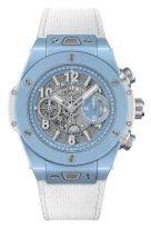 Мужские/женские часы Hublot Big Bang 411_EX_5120_NR с хронографом в керамическом корпусе, на скелетированном темном циферблате с часовыми метками и широкими стрелками, покрытые люминесцентом, голубой тканевый ремешок
