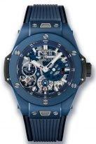Мужские наручные часы Hublot Big Bang-414.EX.5123.RX с запасом хода на 10 дней в керамическом корпусе, на матовом синем скелетированном циферблате часовые метки и широкие стрелки, покрытые люминесцентом, синий каучук.