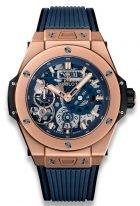 Мужские наручные часы Hublot Big Bang-414.OI.5123.RX с запасом хода в розовом золоте, на матовом синем скелетированном циферблате часовые метки и широкие стрелки, покрытые люминесцентом, синий каучук.