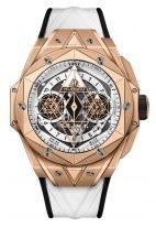 """Мужские/женские часы Hublot Big Bang 418_OX_2001_RX_MXM20 в корпусе из розового золота, на белом матовом циферблате восьмиугольный крутящийся каркас от """"Maxime Buchi"""" с люминесцентным составом, белый каучуковый ремешок."""