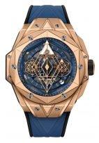 """Мужские часы Hublot Big Bang 418_OX_5108_RX_MXM20 в розовом золоте, на синем матовом циферблате восьмиугольный крутящийся каркас от """"Maxime Buchi"""" с люминесцентным составом, синий каучуковый ремешок."""