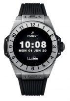 Мужские электронные часы Hublot Big Bang 440_NX_1100_RX с хронографом, вечным календарем и временем второго часового пояса в титановом корпусе, черный циферблат, черный каучук